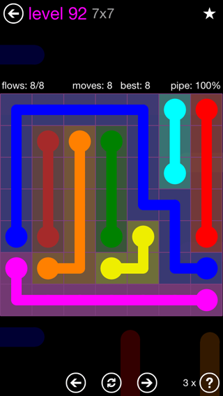 Solution and Answer to the Puzzle for Flow 7mania Pack Set 7x7 Level 92