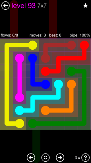 Solution and Answer to the Puzzle for Flow 7mania Pack Set 7x7 Level 93