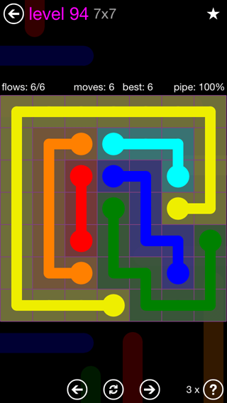 Solution and Answer to the Puzzle for Flow 7mania Pack Set 7x7 Level 94