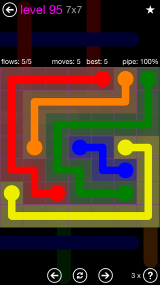 Solution and Answer to the Puzzle for Flow 7mania Pack Set 7x7 Level 95