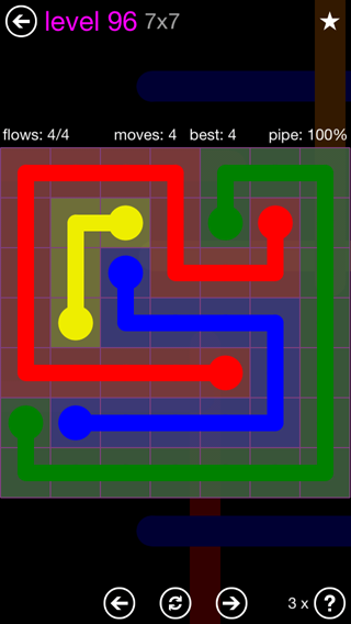 Solution and Answer to the Puzzle for Flow 7mania Pack Set 7x7 Level 96