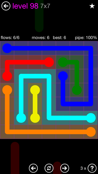 Solution and Answer to the Puzzle for Flow 7mania Pack Set 7x7 Level 98