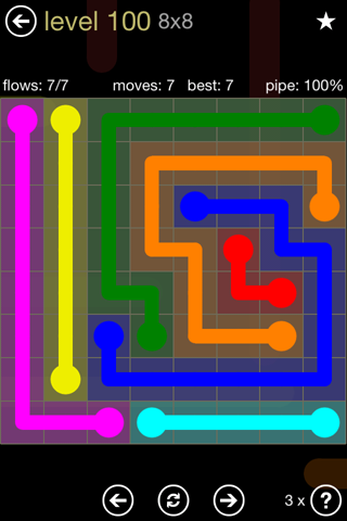 Solution and Answer to the Puzzle for Flow 8mania Pack Set 8x8 Level 100