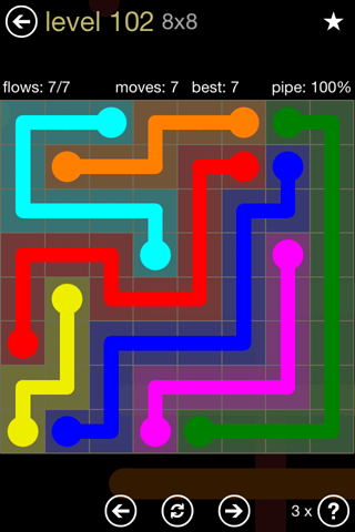 Solution and Answer to the Puzzle for Flow 8mania Pack Set 8x8 Level 102