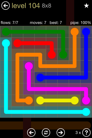 Solution and Answer to the Puzzle for Flow 8mania Pack Set 8x8 Level 104