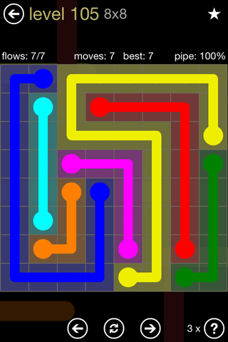 Solution and Answer to the Puzzle for Flow 8mania Pack Set 8x8 Level 105