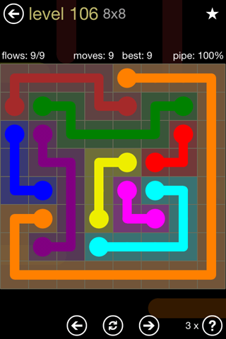 Solution and Answer to the Puzzle for Flow 8mania Pack Set 8x8 Level 106
