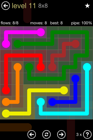 Solution and Answer to the Puzzle for Flow 8mania Pack Set 8x8 Level 11