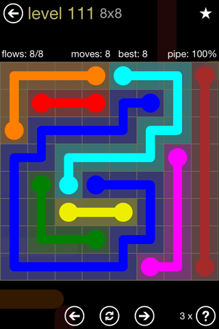 Solution and Answer to the Puzzle for Flow 8mania Pack Set 8x8 Level 111