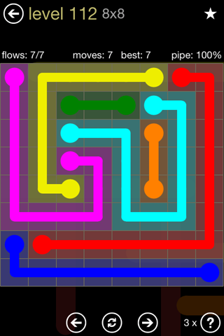 Solution and Answer to the Puzzle for Flow 8mania Pack Set 8x8 Level 112