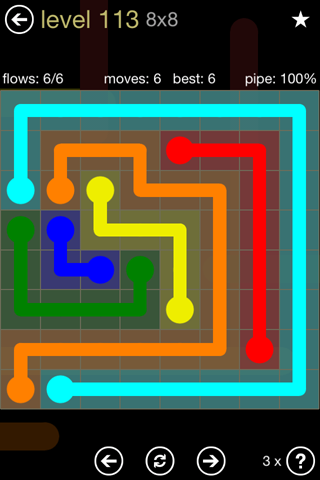 Solution and Answer to the Puzzle for Flow 8mania Pack Set 8x8 Level 113