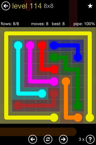 Solution and Answer to the Puzzle for Flow 8mania Pack Set 8x8 Level 114
