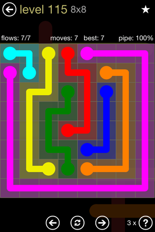 Solution and Answer to the Puzzle for Flow 8mania Pack Set 8x8 Level 115