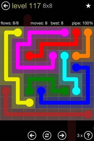 Solution and Answer to the Puzzle for Flow 8mania Pack Set 8x8 Level 117