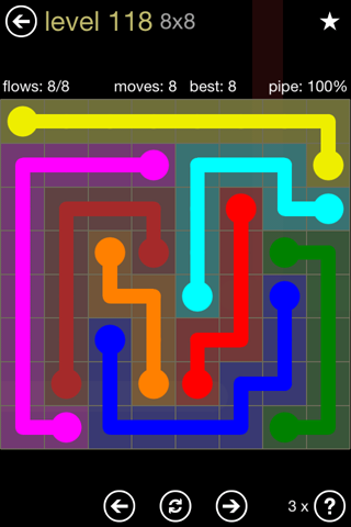 Solution and Answer to the Puzzle for Flow 8mania Pack Set 8x8 Level 118