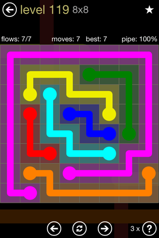 Solution and Answer to the Puzzle for Flow 8mania Pack Set 8x8 Level 119