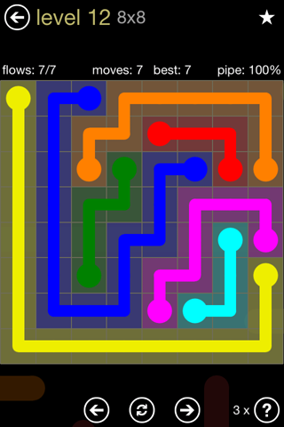 Solution and Answer to the Puzzle for Flow 8mania Pack Set 8x8 Level 12