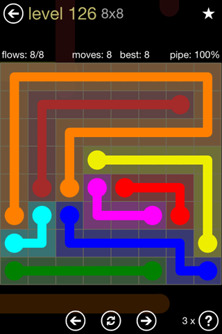 Solution and Answer to the Puzzle for Flow 8mania Pack Set 8x8 Level 126