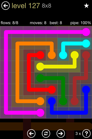 Solution and Answer to the Puzzle for Flow 8mania Pack Set 8x8 Level 127