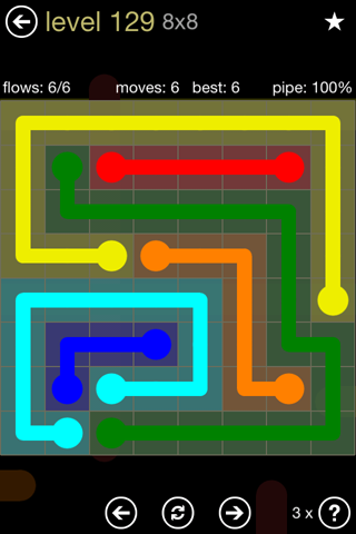 Solution and Answer to the Puzzle for Flow 8mania Pack Set 8x8 Level 129