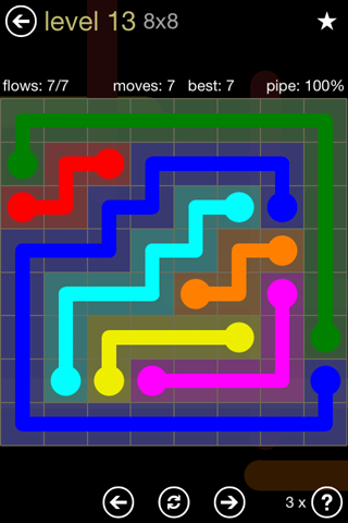 Solution and Answer to the Puzzle for Flow 8mania Pack Set 8x8 Level 13