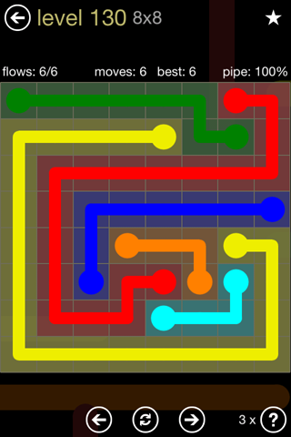 Solution and Answer to the Puzzle for Flow 8mania Pack Set 8x8 Level 130