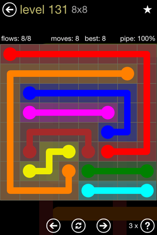 Solution and Answer to the Puzzle for Flow 8mania Pack Set 8x8 Level 131