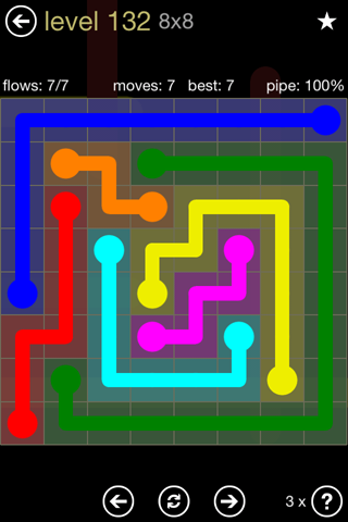 Solution and Answer to the Puzzle for Flow 8mania Pack Set 8x8 Level 132