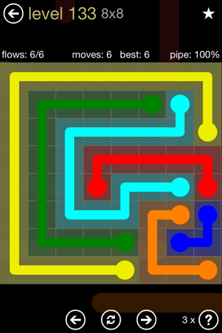 Solution and Answer to the Puzzle for Flow 8mania Pack Set 8x8 Level 133