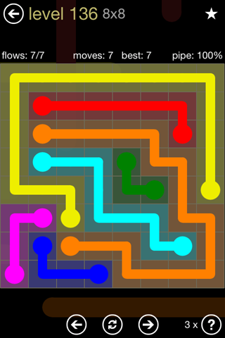 Solution and Answer to the Puzzle for Flow 8mania Pack Set 8x8 Level 136