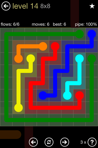 Solution and Answer to the Puzzle for Flow 8mania Pack Set 8x8 Level 14