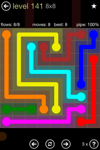 Solution and Answer to the Puzzle for Flow 8mania Pack Set 8x8 Level 141
