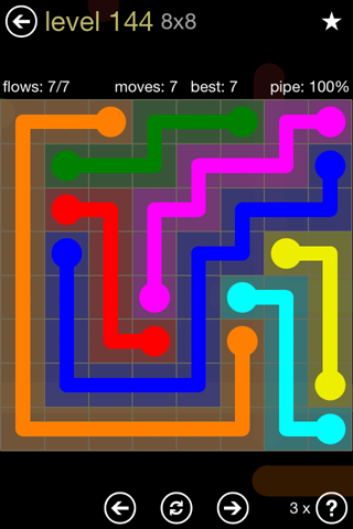 Solution and Answer to the Puzzle for Flow 8mania Pack Set 8x8 Level 144