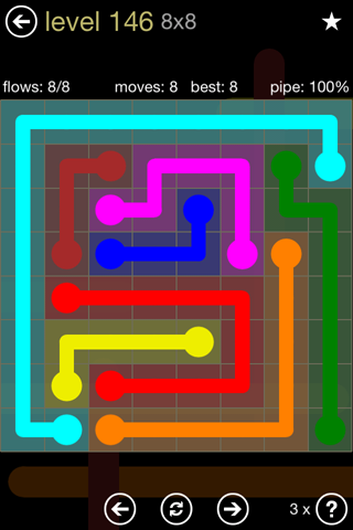 Solution and Answer to the Puzzle for Flow 8mania Pack Set 8x8 Level 146