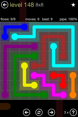 Solution and Answer to the Puzzle for Flow 8mania Pack Set 8x8 Level 148