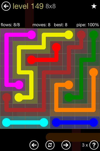 Solution and Answer to the Puzzle for Flow 8mania Pack Set 8x8 Level 149