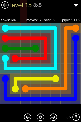 Solution and Answer to the Puzzle for Flow 8mania Pack Set 8x8 Level 15