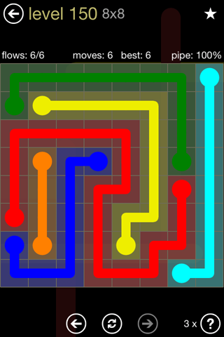 Solution and Answer to the Puzzle for Flow 8mania Pack Set 8x8 Level 150