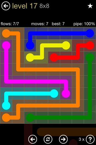 Solution and Answer to the Puzzle for Flow 8mania Pack Set 8x8 Level 17