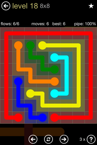 Solution and Answer to the Puzzle for Flow 8mania Pack Set 8x8 Level 18