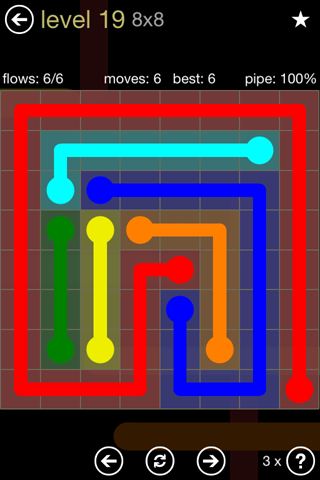 Solution and Answer to the Puzzle for Flow 8mania Pack Set 8x8 Level 19