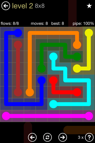 Solution and Answer to the Puzzle for Flow 8mania Pack Set 8x8 Level 2