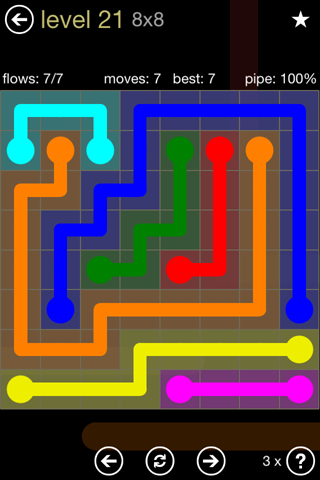Solution and Answer to the Puzzle for Flow 8mania Pack Set 8x8 Level 21