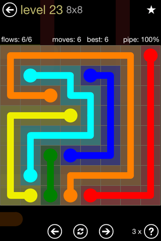 Solution and Answer to the Puzzle for Flow 8mania Pack Set 8x8 Level 23