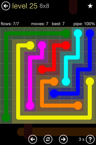Solution and Answer to the Puzzle for Flow 8mania Pack Set 8x8 Level 25