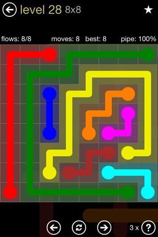 Solution and Answer to the Puzzle for Flow 8mania Pack Set 8x8 Level 28