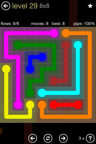 Solution and Answer to the Puzzle for Flow 8mania Pack Set 8x8 Level 29