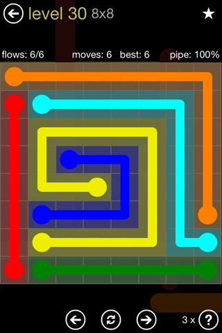 Solution and Answer to the Puzzle for Flow 8mania Pack Set 8x8 Level 30
