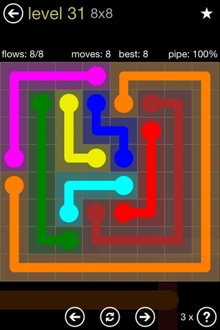 Solution and Answer to the Puzzle for Flow 8mania Pack Set 8x8 Level 31
