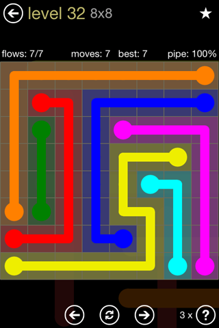 Solution and Answer to the Puzzle for Flow 8mania Pack Set 8x8 Level 32